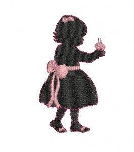 motif de broderie fille silhouette